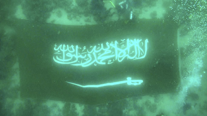 flag unfurled under water